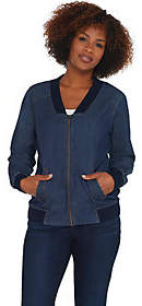 Denim & Co. Stretch Denim Bomber Jacket withRib Trim Detail