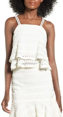 Women's Moon River Crochet Flounce Crop Top $60 thestylecure.com