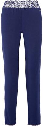 Calvin Klein Underwear - Seductive Comfort Lace-trimmed Stretch-modal Pajama Pants - Storm blue $50 thestylecure.com