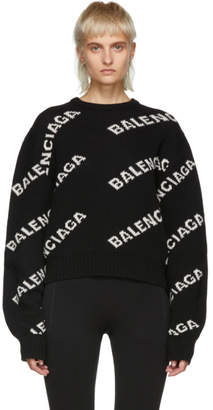 Balenciaga Black Wool and Camel All Over Logo Sweater