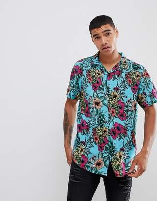 Urban Threads Floral Print Revere Collar Shirt