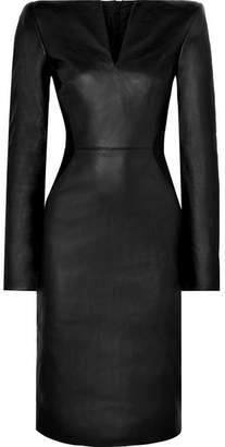Gareth Pugh Leather And Stretch-knit Midi Dress - Black