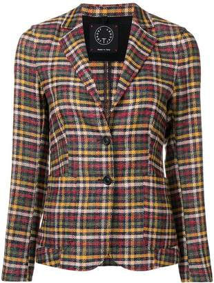T Jacket plaid fitted blazer
