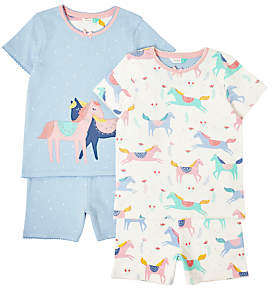 John Lewis & Partners Girls' Horse Print Short Pyjamas, Pack of 2, White/Blue