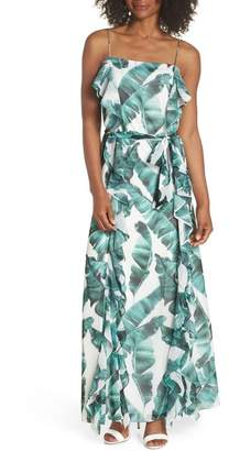 Chelsea28 Palm Leaf Ruffle Maxi Dress