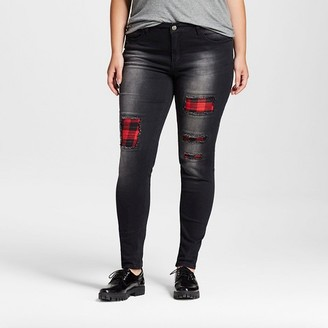Dollhouse Women's Plus Size Destructed Skinny Jean with Plaid Patches - Dollhouse (Juniors') $34.99 thestylecure.com