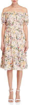 Yumi Floral Off-the-Shoulder Bardot Dress