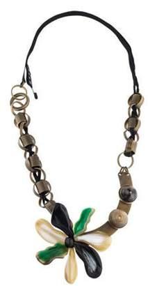 Marni Horn & Resin Flower Necklace Bronze Horn & Resin Flower Necklace