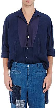 Loewe Men's Twisted-Placket Linen Tunic Shirt - Navy