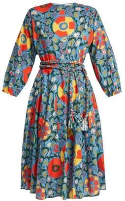 Rhode Resort - Floral Print Cotton Midi Dress - Womens - Blue Print