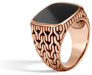 John Hardy Classic Chain Bronze Signet Ring with Onyx