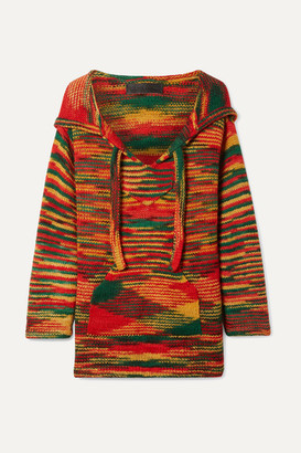 The Elder Statesman Baja Hooded Cashmere Sweater - Red