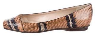 Calvin Klein Collection Embossed Square-Toe Flats