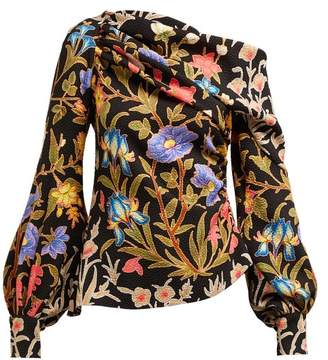 Peter Pilotto Floral And Foliage Print Asymmetric Crepe Blouse - Womens - Black Multi