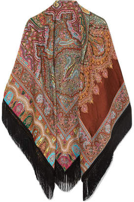 Etro Fringed Paisley Wool-blend Jacquard Wrap - Orange