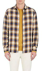 Officine Generale MEN'S PLAID COTTON FLANNEL BUTTON-FRONT SHIRT SIZE L