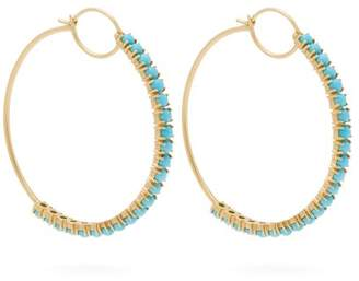 Irene Neuwirth 18kt Gold & Turquoise Hoop Earrings - Womens - Blue
