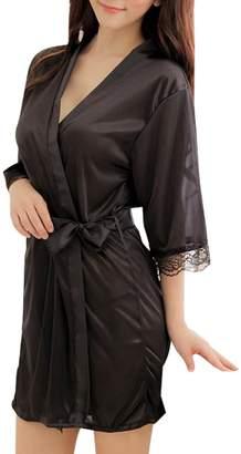 SiDiOU Group Night Robe for Women Robe Short Lace Nightwear Sexy Sleepwear (, S)
