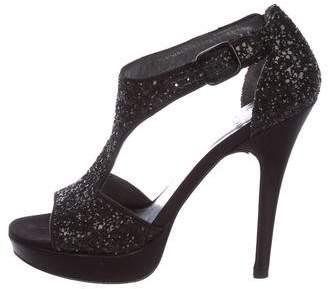 Stuart Weitzman Glitter Ankle Strap Sandals