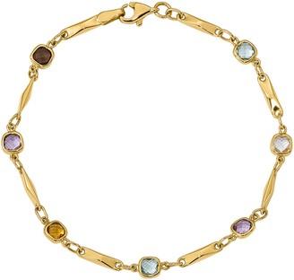 """14K Multi Gemstone Fancy Link 7-1/2"""" Bracelet,3.5g"""