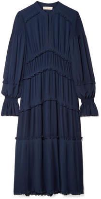 Tory Burch - Stella Ruffled Pleated Chiffon Midi Dress - Navy