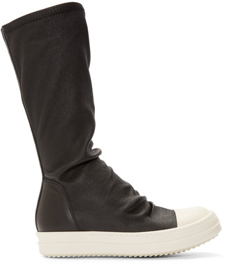 Rick Owens Black Leather Mid Sock Sneakers $1,655 thestylecure.com