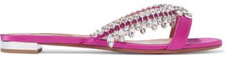 Aquazzura Gem Palace Crystal-embellished Satin Slides - Pink