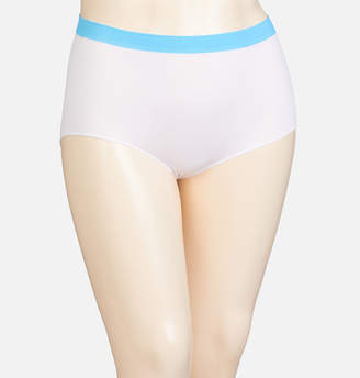 Avenue White Turquoise Stripe Seamless Full Brief Panty