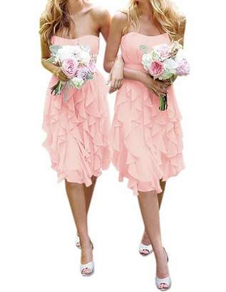 ModeC Women's Short Chiffon Sweetheart Bridesmaid Dresses Prom Gowns Pleats US