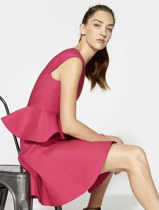Halston CAP SLEEVE V NECK DRESS WITH PEPLUM