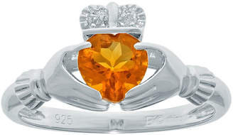 JCPenney FINE JEWELRY Heart-Shaped Genuine Citrine and Diamond-Accent Sterling Silver Claddagh Ring