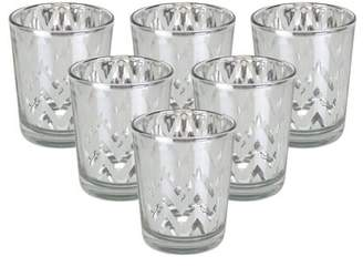 """Just Artifacts Mercury Glass Votive Candle Holder 2.75""""H (6pcs, Chevron Silver) -Mercury Glass Votive Tealight Candle Holders for Weddings, Parties and Home Decor"""