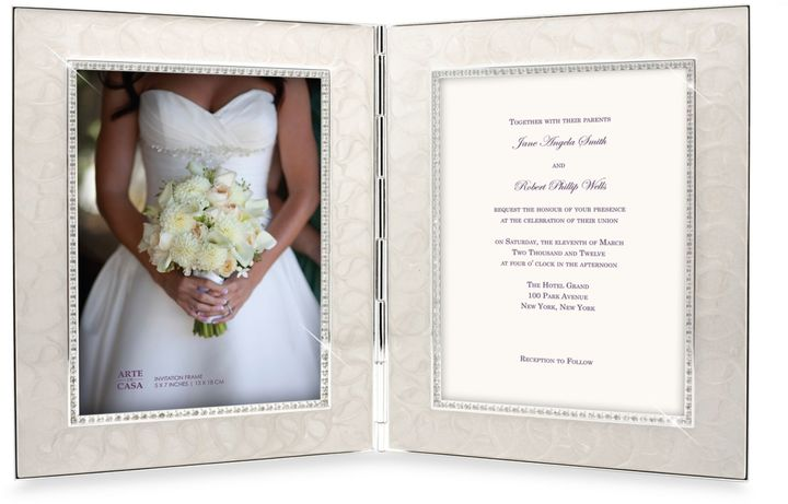 Bed Bath & Beyond Enamel and Crystal 2-Opening Invitation Frame