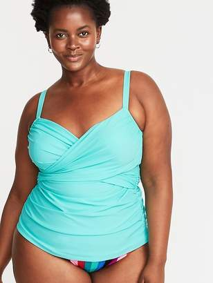 eb0df38355b Old Navy Wrap-Front Secret-Slim Plus-Size Tankini Swim Top