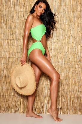 boohoo Ring Detail Cut Out Swimsuit