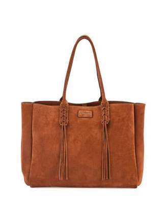 Lanvin Medium Suede Tassel Tote Bag, Brown $1,495 thestylecure.com