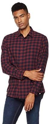 Buffalo David Bitton Wood Paper Company Men's Long Sleeve Regular Fit Clean Front Plaid Cotton Shirt