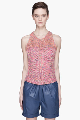 See by Chloe Pink multicolor knit halter tank top