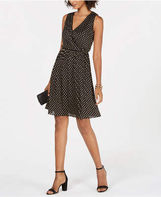 Nine West Metallic-Dot Surplice Fit & Flare Dress
