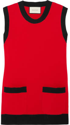 Gucci Two-tone Wool And Cashmere-blend Top - Red