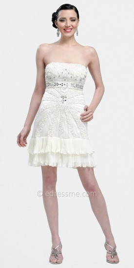 Sue Wong Strapless Beaded Short Cocktail Dresses