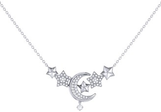 Lmj Star Cluster Crescent Necklace In Sterling Silver