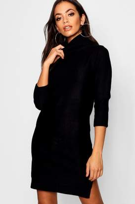 boohoo Rib Knit Roll Neck Jumper Dress