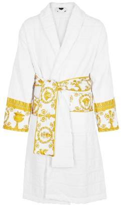 Versace White Satin-trimmed Terry Dressing Gown