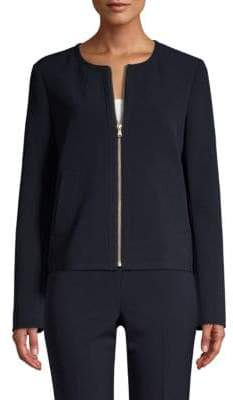 Donna Karan Long-Sleeve Collarless Zip-Front Jacket