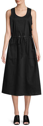 Eileen Fisher Scoop Neck Cotton Twill Midi Dress