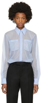 Victoria Beckham Blue Sheer Pocket Blouse