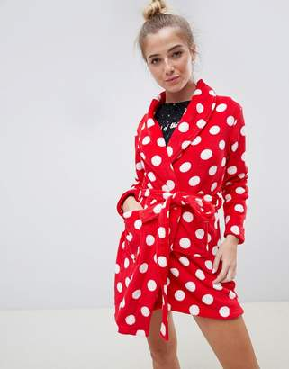 Brave Soul red polka dot dressing gown
