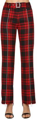High Waisted Plaid Wool Pants