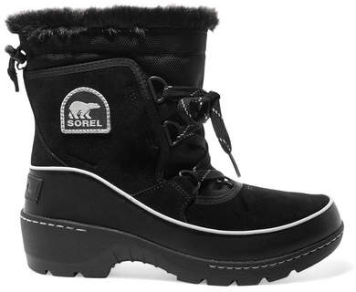 Sorel - Torino Waterproof Suede, Shell And Leather Ankle Boots - Black